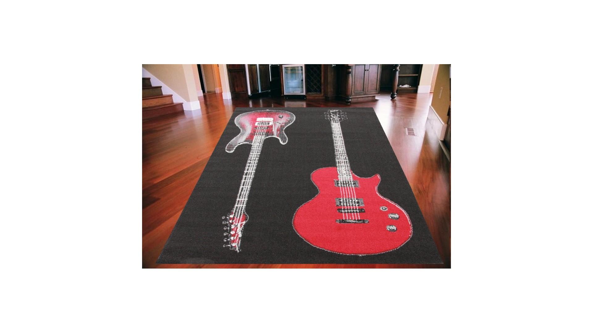 Modne wzory dwóch czerwonych gitar.