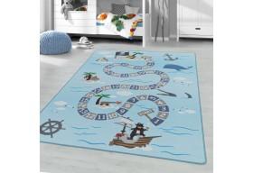 Dywan do pokoju dziecięcego PIRACKIE SKARBY Niebieski PLAYER