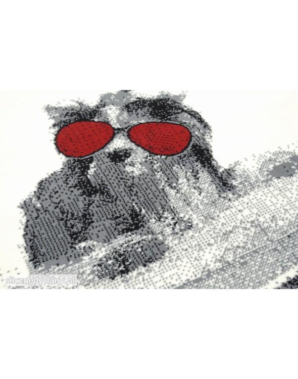 Wzór pieska w okularach na walizce.