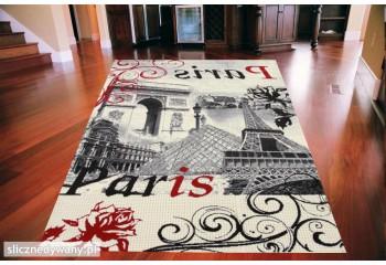 Dywan nowoczesny do salonu FRENCH PARIS Kremowo Czerwony CITY