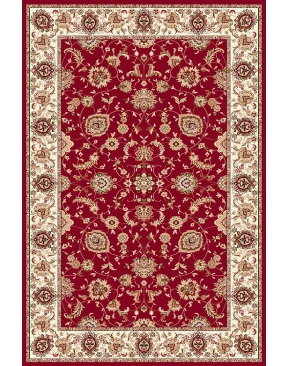 Klasyczny dywan do salonu o pięknych bordowych kolorach.