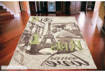 Dywan nowoczesny do salonu PARIS VIEW Kremowo Zielony CITY