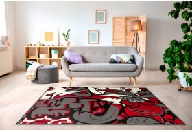 Dywan nowoczesny do salonu GRAFFITI Czerwony CITY