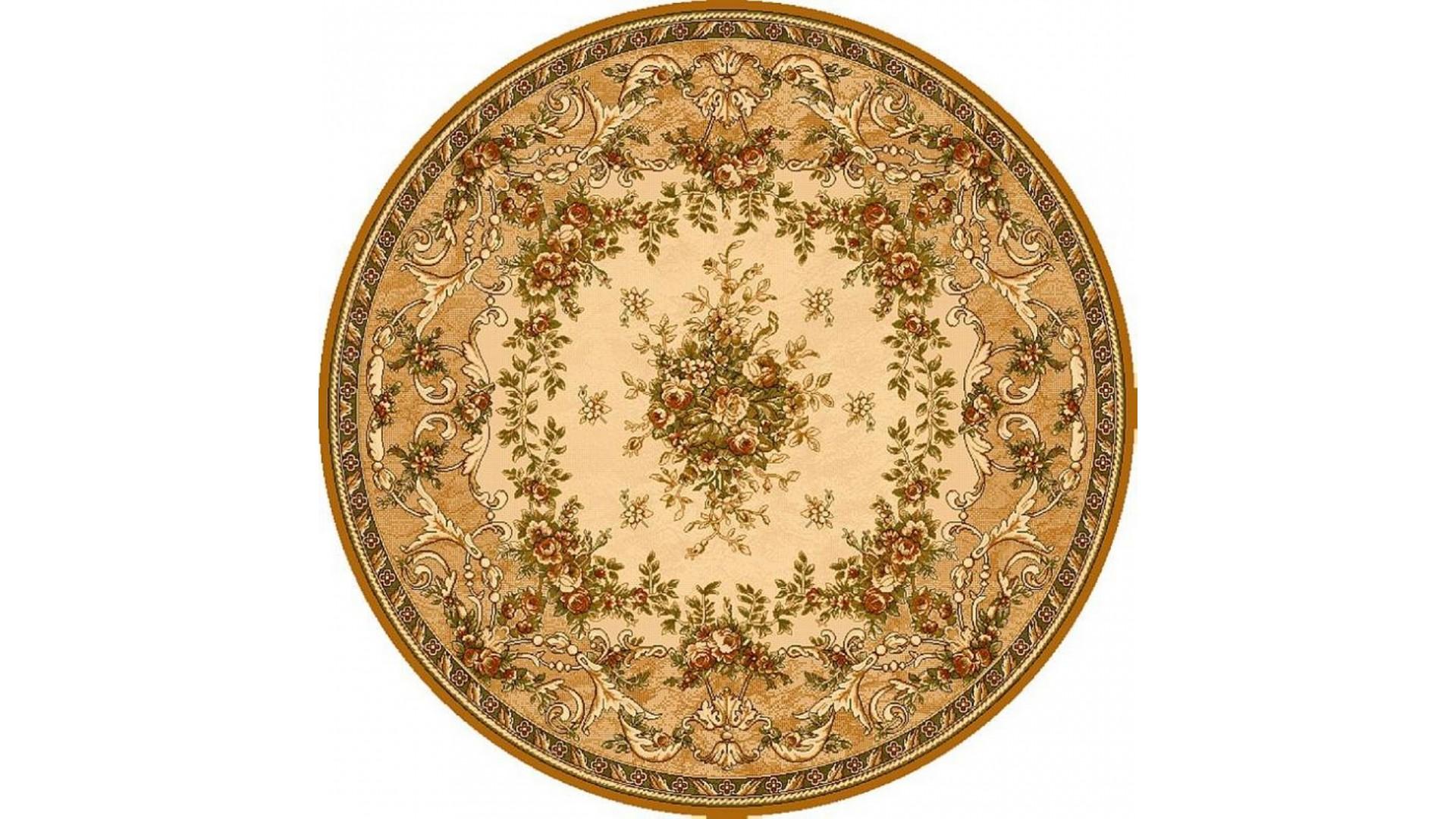 Klasyczny dywan wełniany, w kształcie koła.