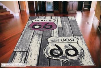Dywan młodzieżowy ROUTE 66 SIGNS Szaro Różowy CITY