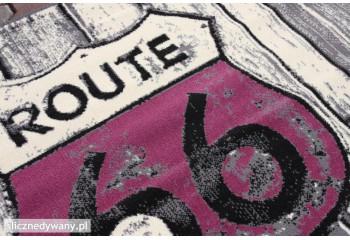 Dywan młodzieżowy Route 66 Signs Grey Pink.