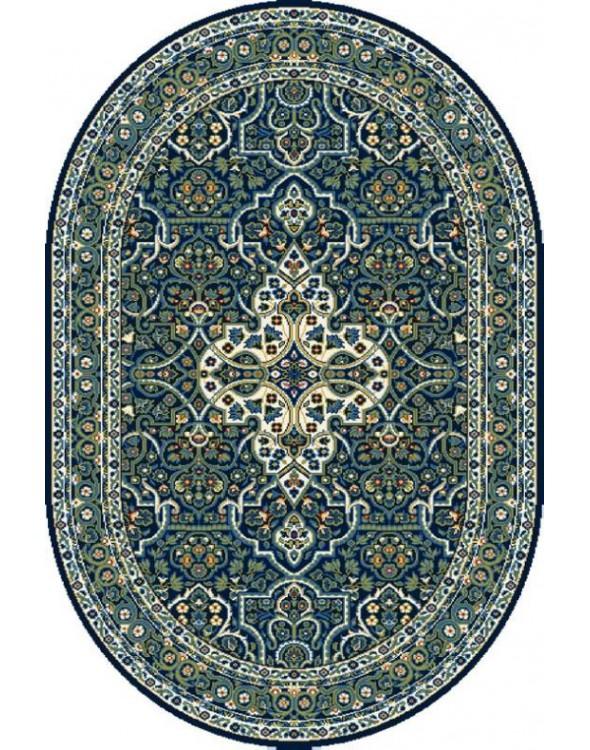 Przepiękny dywan w granatowych barwach.
