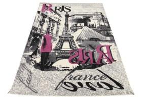 Dywan nowoczesny do salonu PARIS VIEW Kremowo Różowy CITY