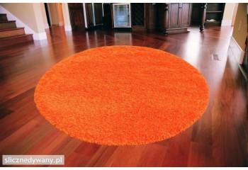 Dywan do sypialni Shaggy Pomarańcz Orange Koło Frisee
