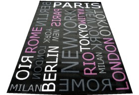 Dywan nowoczesny do salonu PARIS MESSAGE Czarno Fioletowy CITY