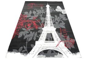 Dywan nowoczesny do salonu PARIS GLAMOUR Czarno Czerwony CITY