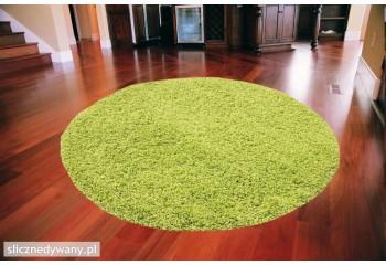 Dywan do salonu, sypialni Zielony Grass Koło SHAGGY Fresee