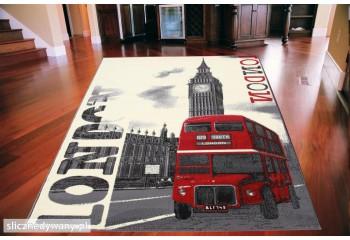 Dywan młodzieżowy LONDON BUS Szaro Czerwony CITY