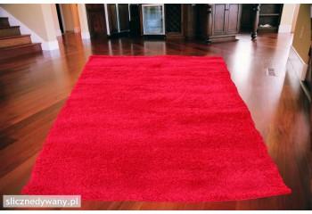 Dywan do sypialni Shaggy Czerwony Red Frisee