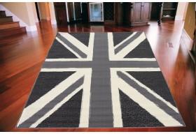 Dywan nowoczesny do salonu flaga brytyjska UNION JACK Popielaty CITY