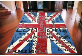 Dywan nowoczesny do salonu UNION JACK LONDON Niebieski CITY