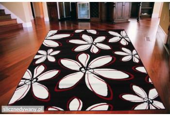 Dywan nowoczesny do salonu BLOOM Czarno Czerwony ALFA