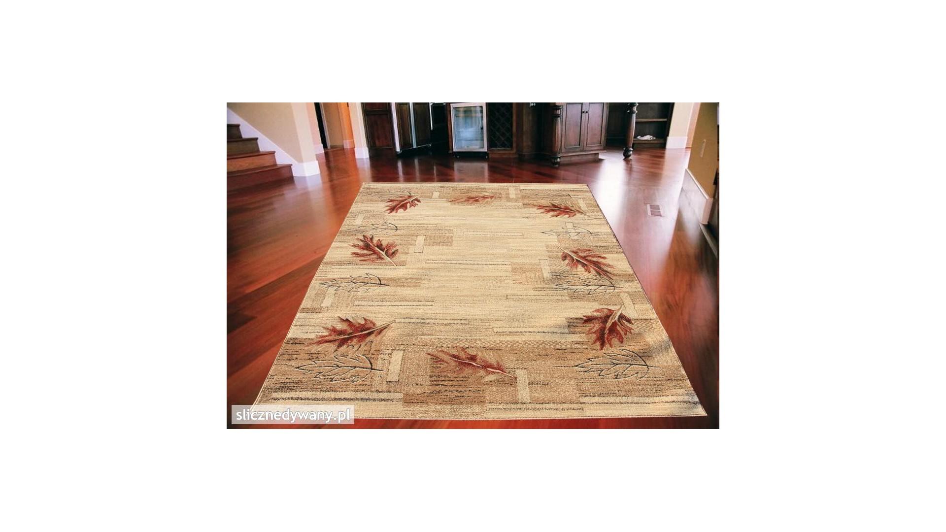 Piękne, jasne barwy dywanu.