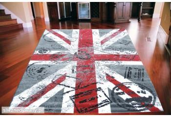 Dywan nowoczesny do salonu BRITISH POSTCARD Szary ALFA