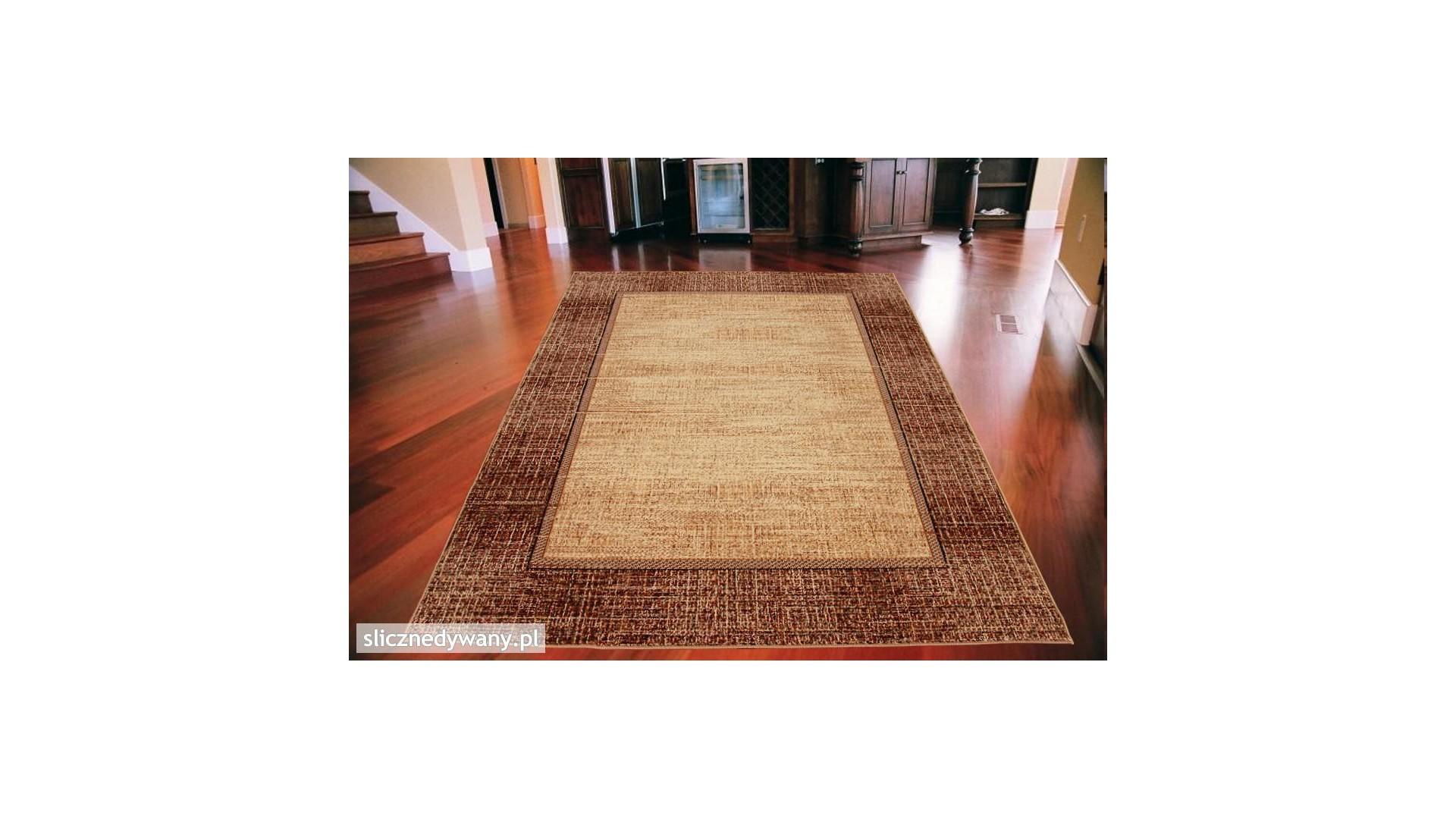 Modne, piaskowe barwy dywanu.