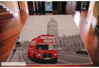 Dywan nowoczesny do salonu BRITISH BUS Brytyjski Autobus ALFA
