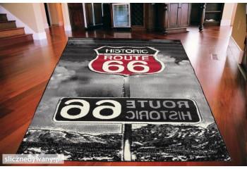 Dywan nowoczesny do salonu HISTORIC ROUTE TRASA USA 66 Czarny CITY