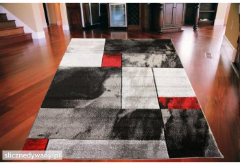 Dywan nowoczesny SERSY 03 Popiel Czerwień Grey Red FANTAZJA