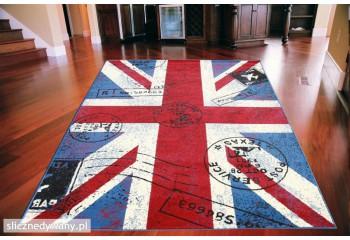 Dywan nowoczesny do salonu BRITISH POSTCARD Niebieski CITY