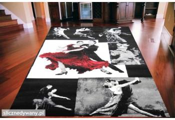 Dywan nowoczesny do salonu TANGO Czarno Czerwony VENUS