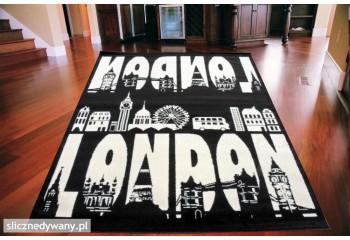 Dywan nowoczesny do salonu LONDON PANORAMA Czarno Biały CITY