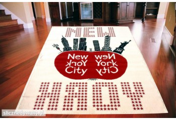 Dywan nowoczesny do salonu NYC BIG APPLE Kremowo Czerwony CITY