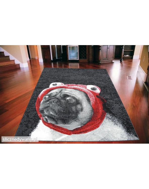Przepiękny dywan, który przedstawia buldoga francuskiego.