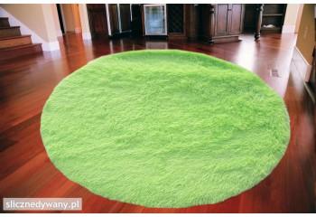 Dywan do sypialni Shaggy Plusz Jasny Zielony Koło Light Green