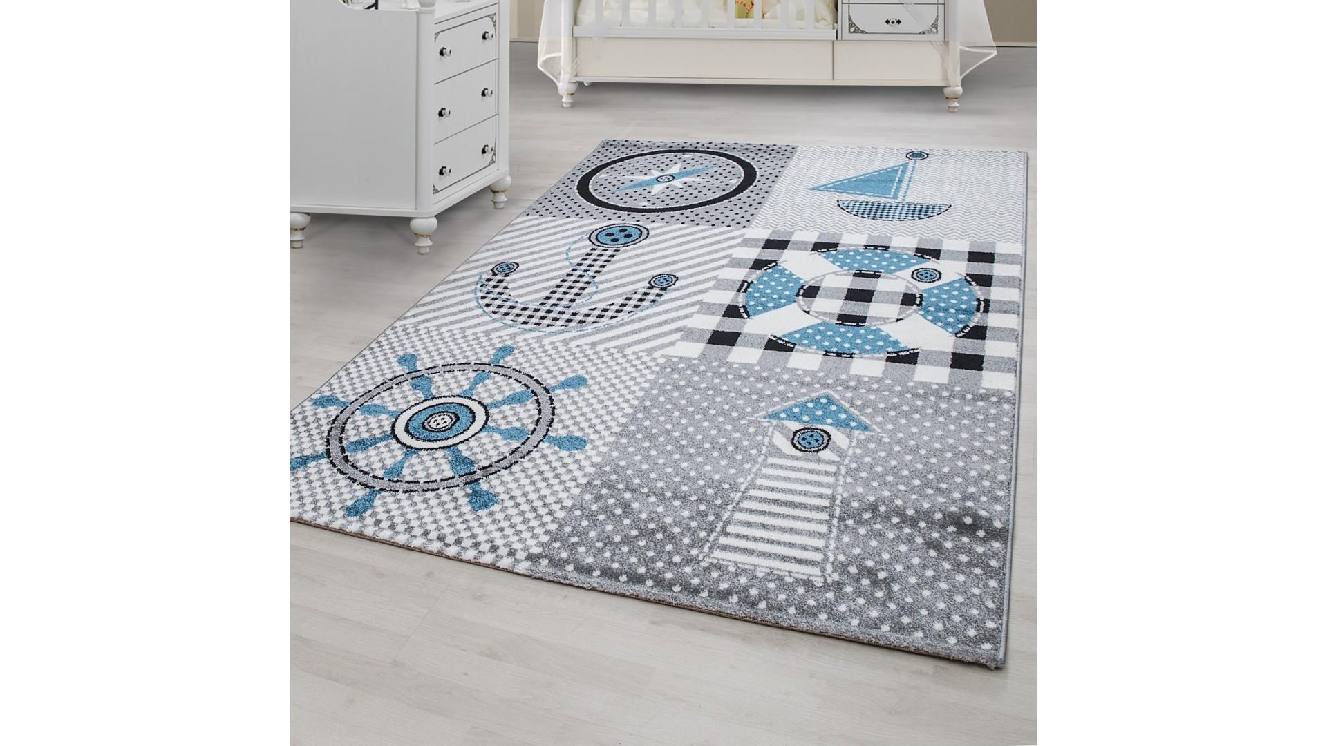 Modny dywan dla dzieci z motywem kotwicy.