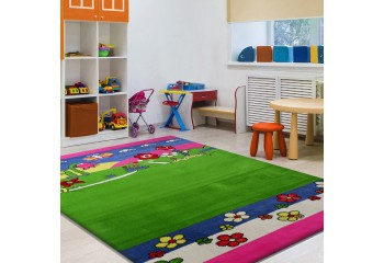 Dywan dla dzieci Łączka Smyk 09 Zielono - Różowy