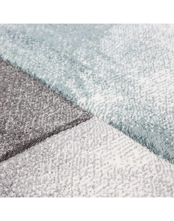 Modny dywan niebiesko-szary.
