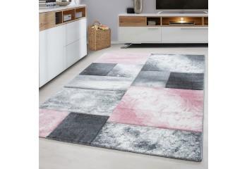 Dywan do salonu nowoczesny KWADRATY Różowo Szare HAWAJE