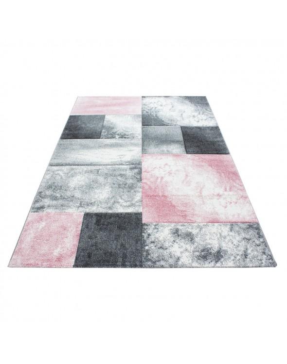 Dywan do salonu w kwadraty różowo-szare.