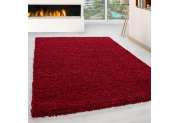 Dywan do salonu i sypialni Shaggy Kudłacz Jednokolorowy Czerwony LITE