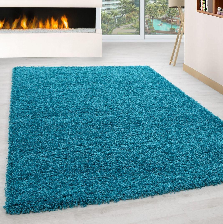 Piękny turkusowy dywan Shaggy